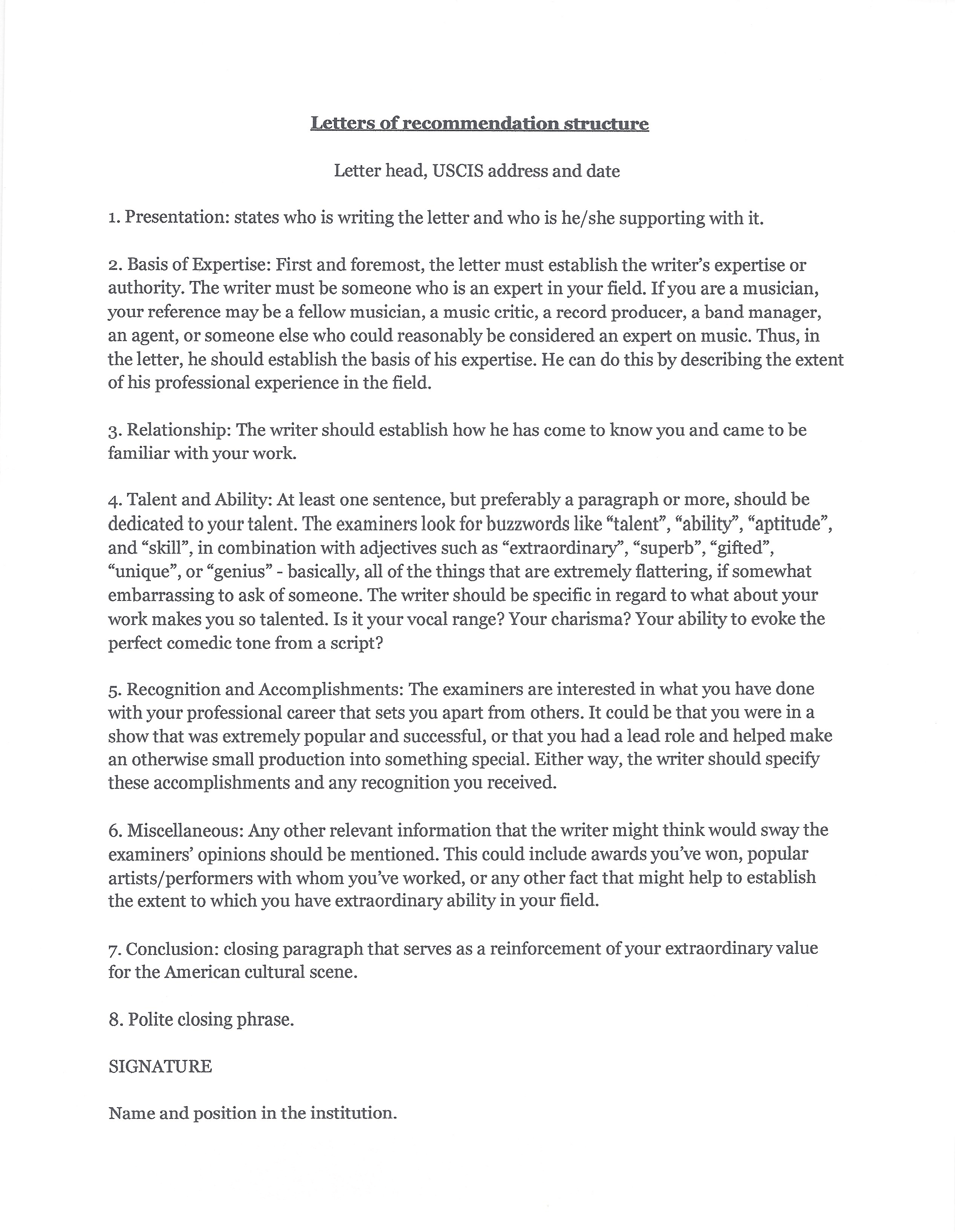 O  Visa Letter Of Recommendation Sample Image Collections  Letter